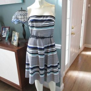 White House Black Market Stripe Strapless Dress 4